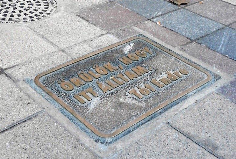Endre Tót's Memorial Sign Budapest