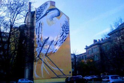 Giant Egret Mural Budapest