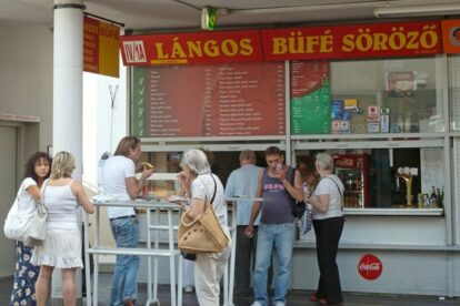 The lángos stand at Fény St. market Budapest