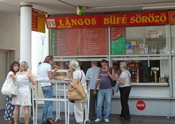 The lángos stand at Fény St. market Budapest