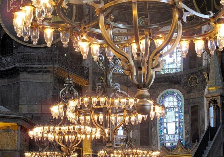 Chandeliers in Hagia Sophia Mosque Istanbul