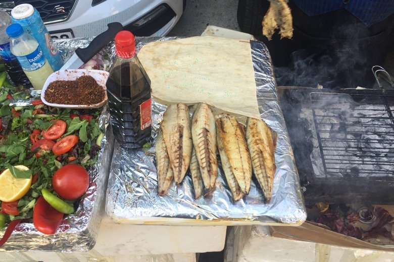 Fish Wrap Stalls Istanbul
