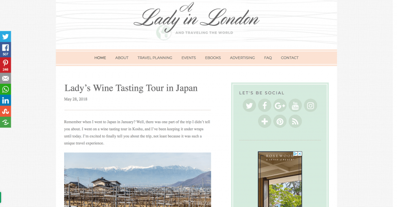 A Lady in London blog