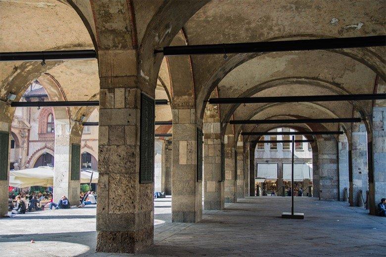 Palazzo della Ragione's colonade Milan