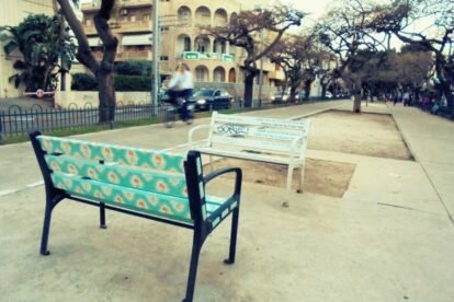 Colored benches Tel Aviv