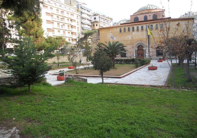The Agia Sofia church yard Thessaloniki