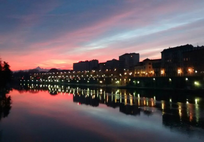Sunset on the Po river Turin