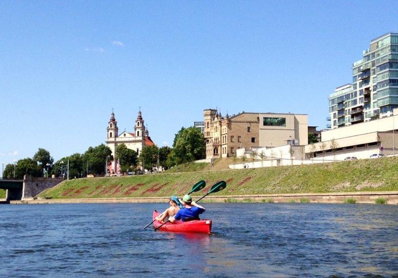 Rowing down the river Neris Vilnius