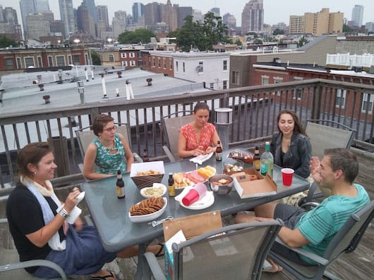 Meeting the Philly Spotters on Rob's roof terrace