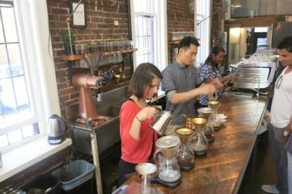 Synchronized coffee making at Revolver