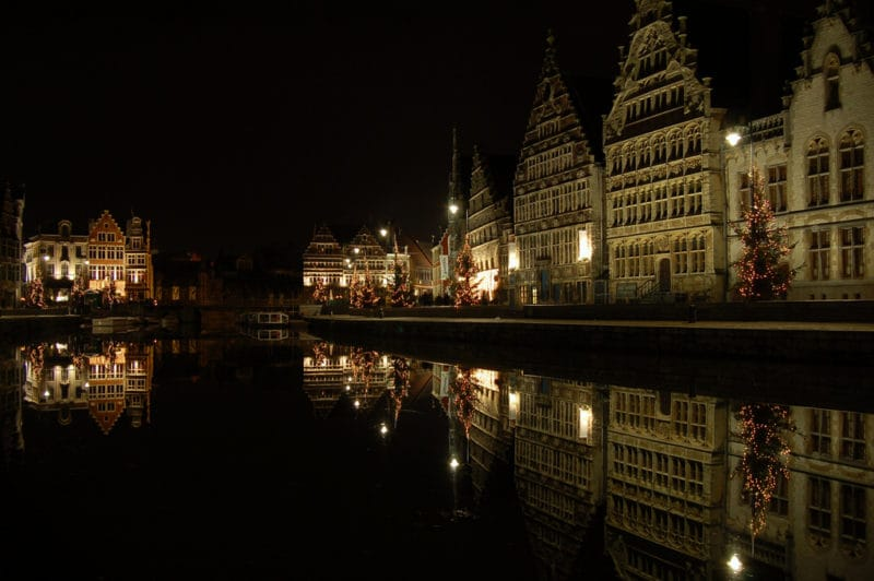 Ghent Graslei during Christmas (by Dennis AB Flickr)