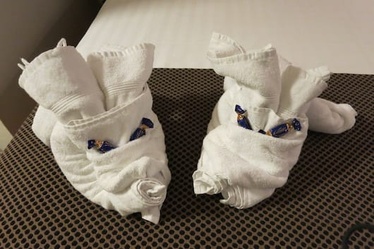 Towel animals in Stockholm - on the great bed