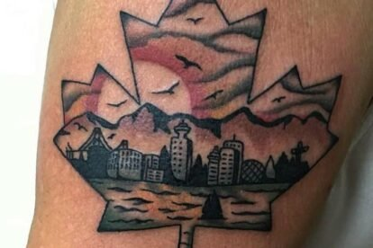 Vancouver inside a maple leaf silouhette tattoo
