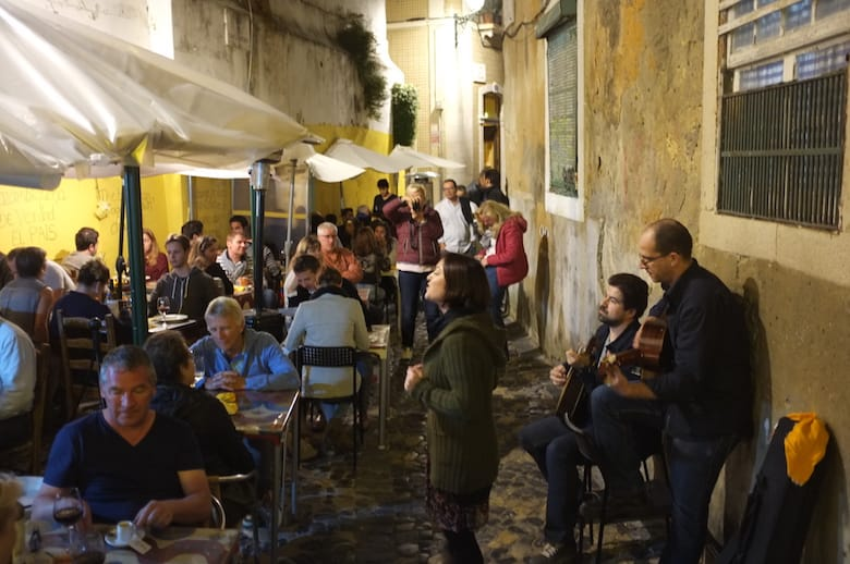 Perfect last night in Lisbon with outdoor Fado in Mouraria