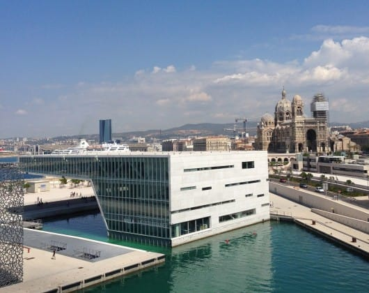 The Villa Méditerranée with Marseille cathedral in the background - by Edoardo Parenti