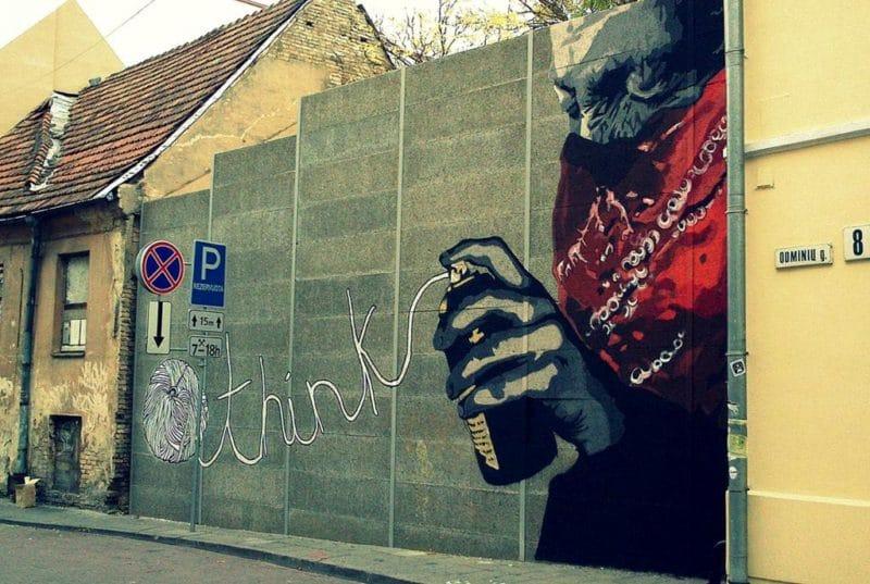 """Mural """"Think"""" (by Šarūnas Andriušaitis)"""