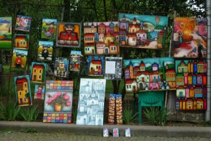 Painting on a fence on Dry Bridge Park, Tbilisi