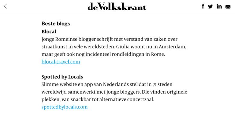 Nice mention in De Volkskrant Detourism article