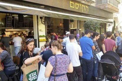 Queueing for falafel at HaKosem Tel Aviv