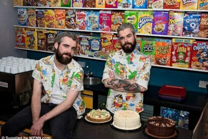 The Cereal Killer cafe was founded by identical twins Alan (right) and Gary Keely from Belfast. Credits to WENN.com through The Daily Mail