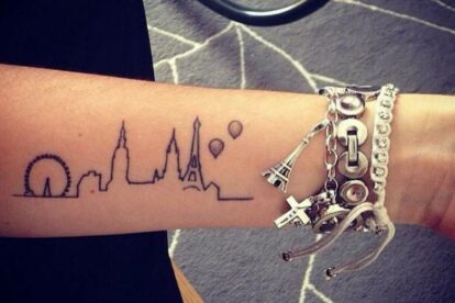 Paris' tourist highlights tattoo