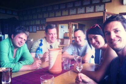Pálinka tasting, with locals