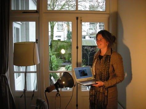 Sanne preparing webcam-video