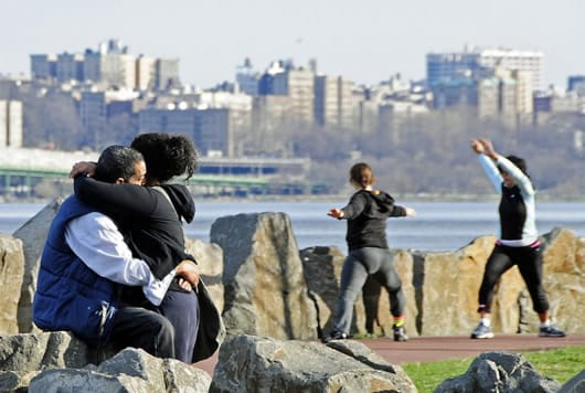Tai Chi and a Kiss on the Hudson by Tony Fischer Photography